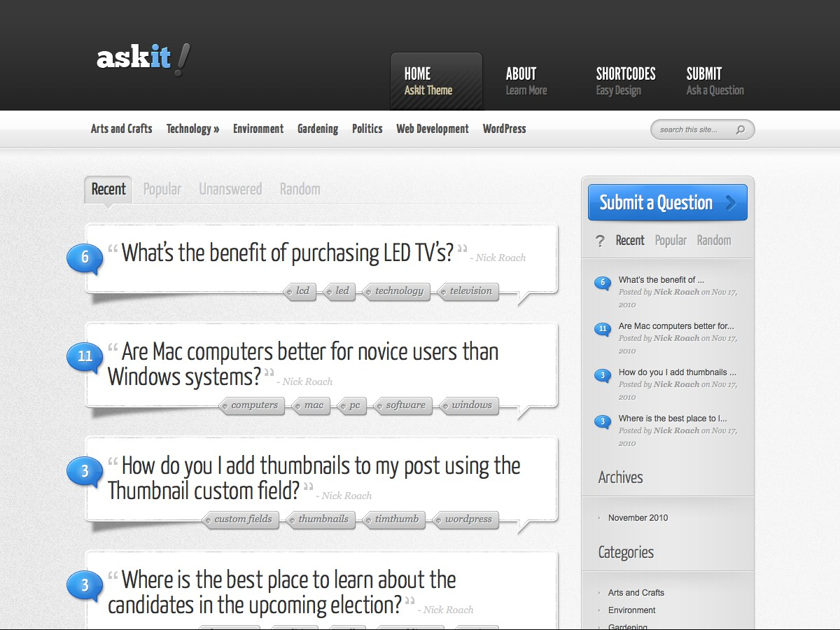 Nuestros temas WordPress - AskIt