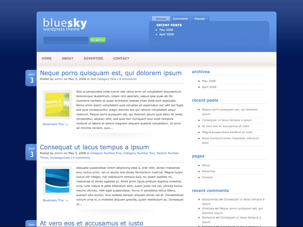 I nostri temi Wordpress - BlueSky