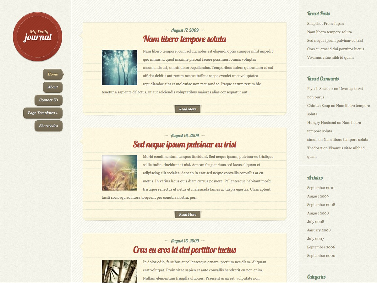 Our WordPress themes - DailyJournal