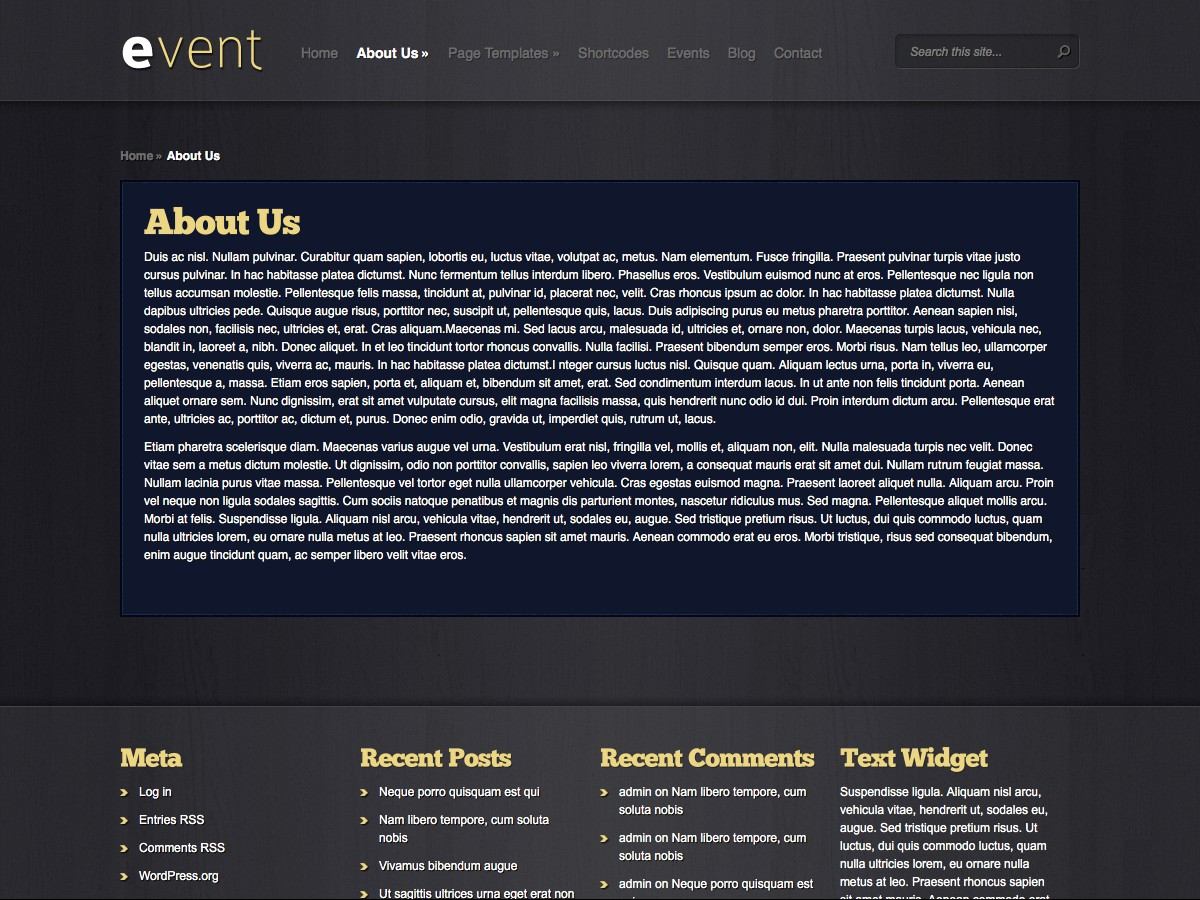 Nuestros temas WordPress - Event