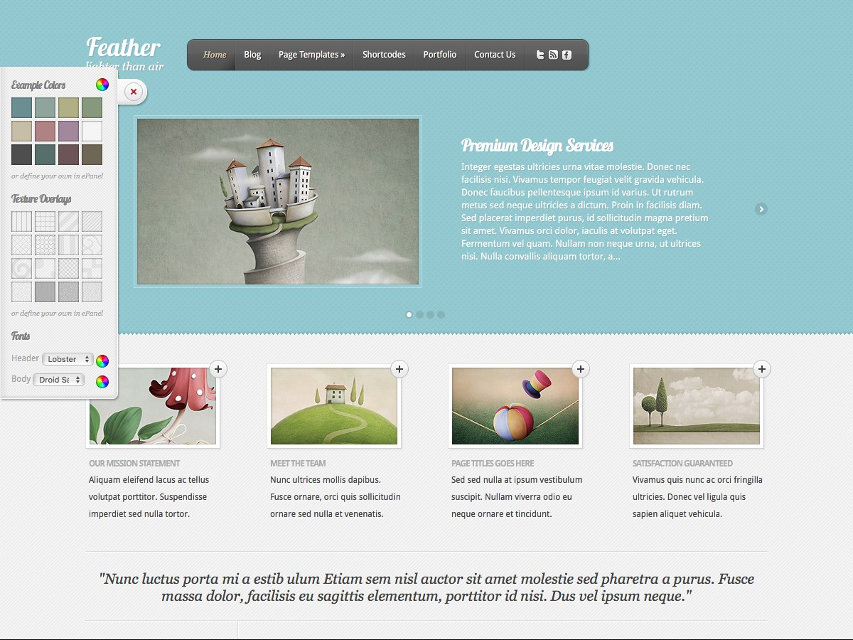 Nuestros temas WordPress - Feather