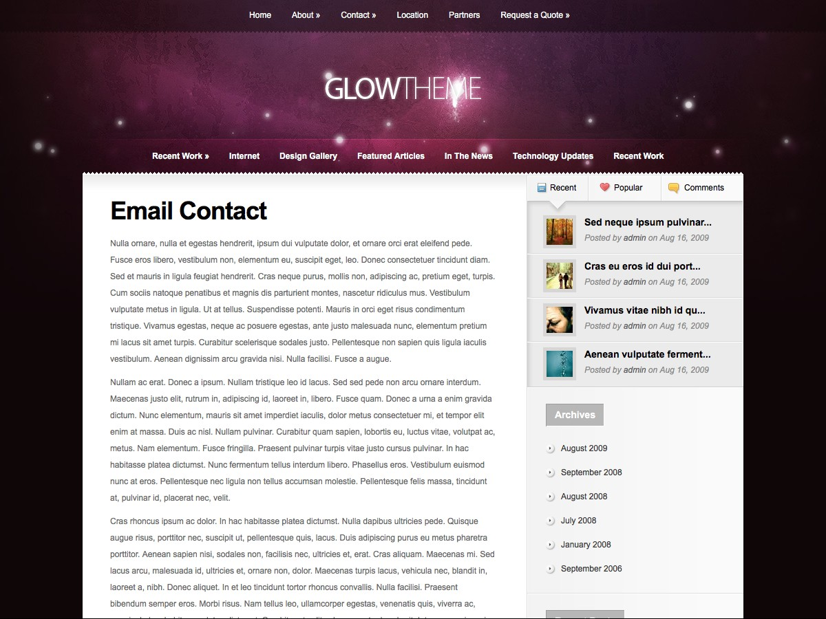Our WordPress themes - Glow
