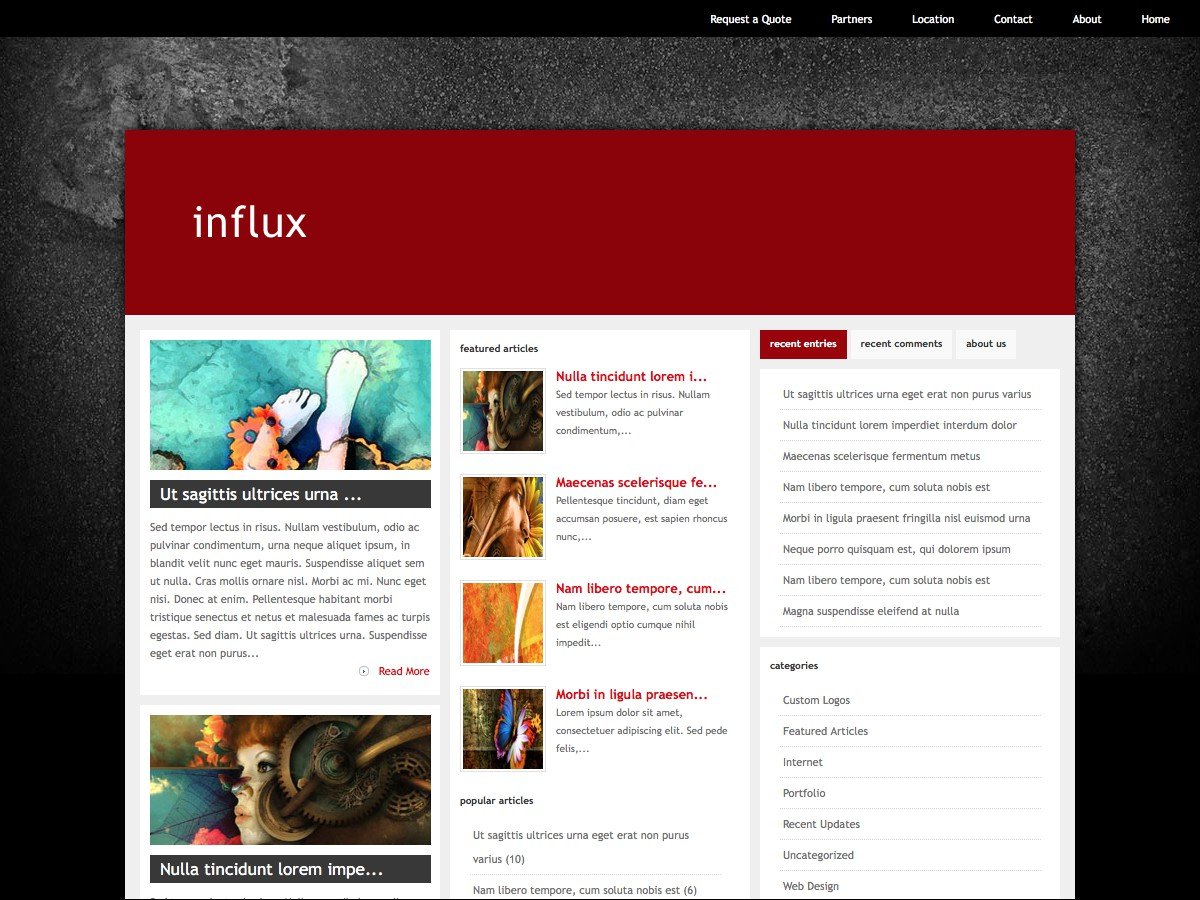 Our WordPress themes - Influx