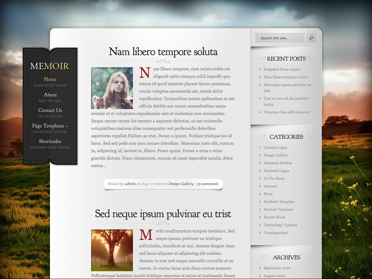 Our WordPress themes - Memoir
