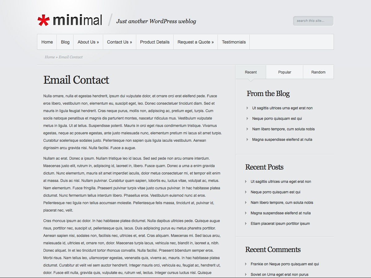 Our WordPress themes - Minimal