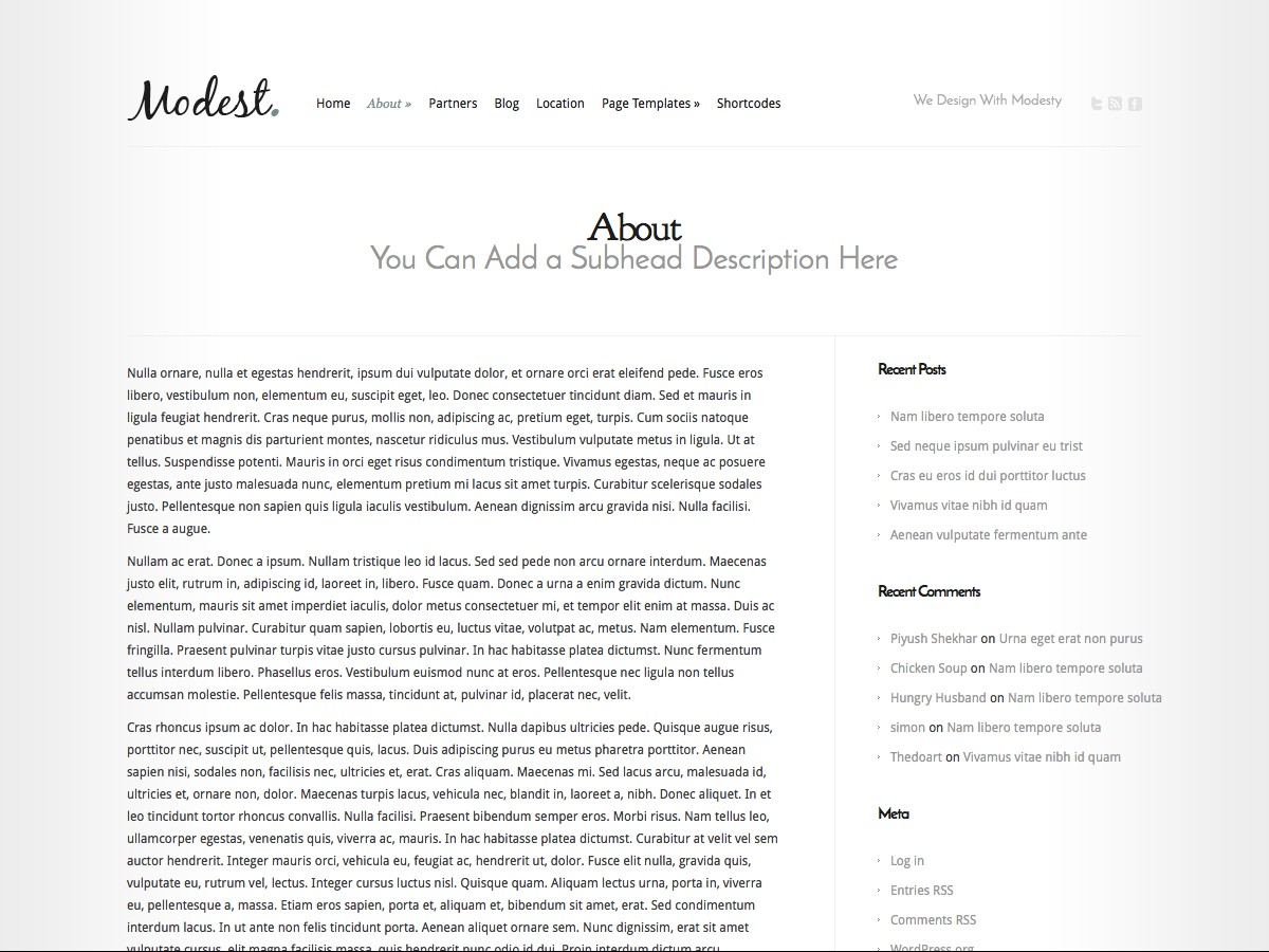 Unsere WordPress-Themes - Modest