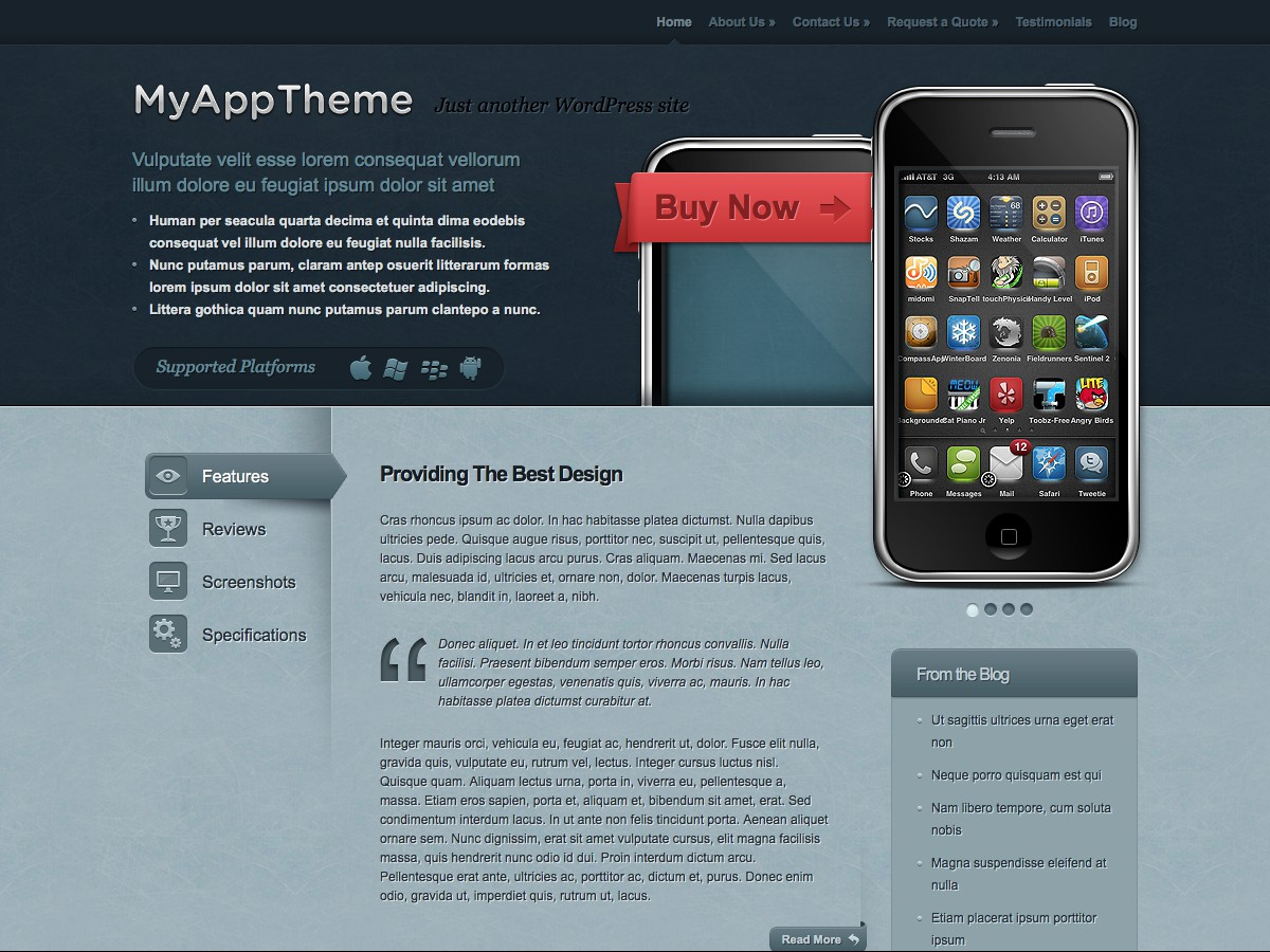 Our WordPress themes - MyApp