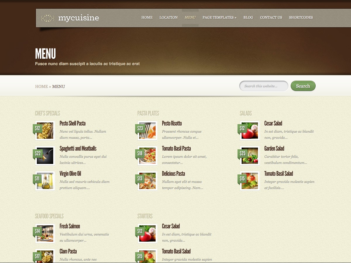 Our WordPress themes - MyCuisine