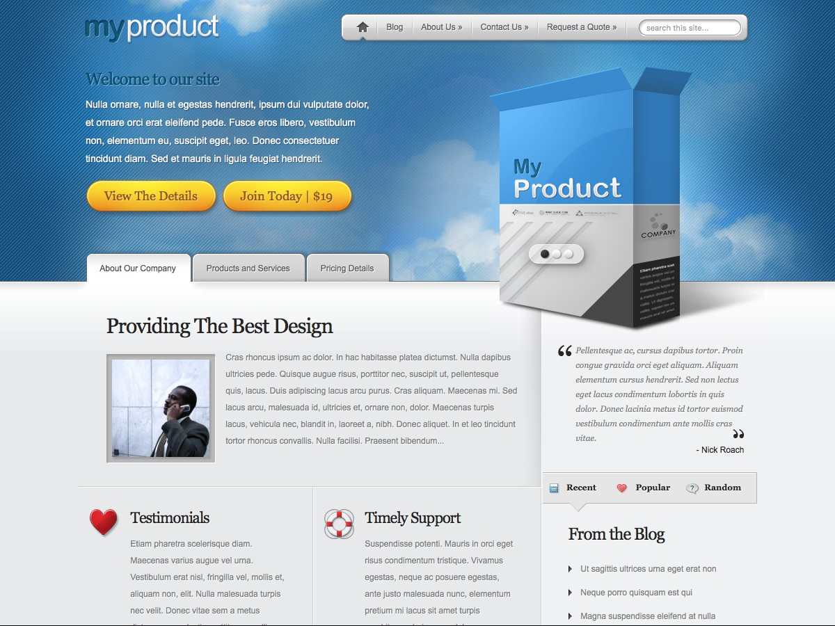 Nos thèmes WordPress - MyProduct