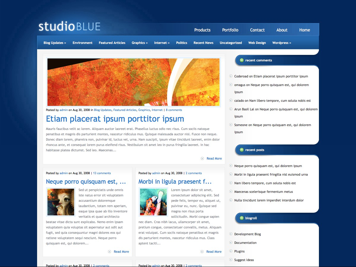 Our WordPress themes - StudioBlue