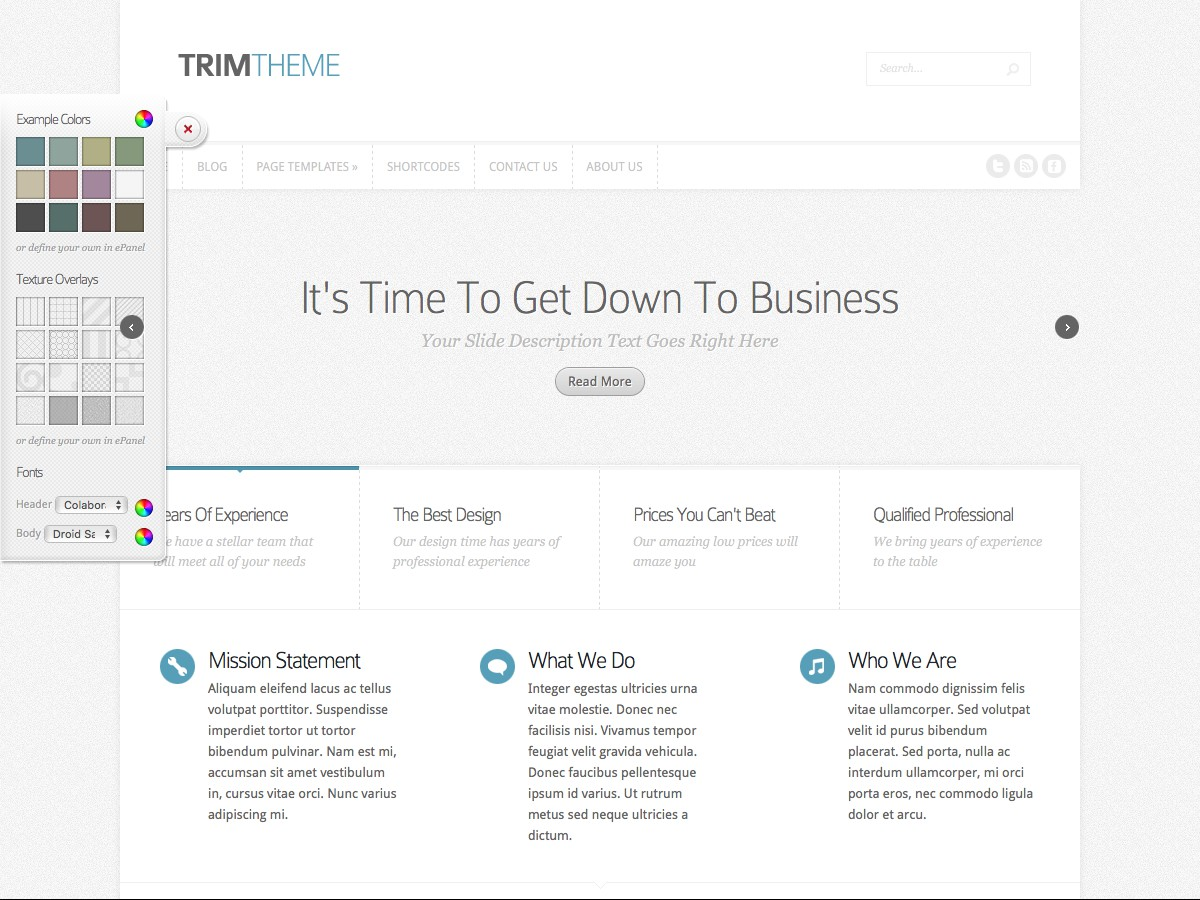 Nos thèmes WordPress - Trim